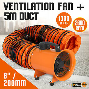 8 Extractor Fan Blower Ventilator 5m Duct Hose Axial Motor Utility Air Mover