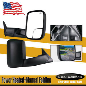 For 1998 2000 2001 Dodge Ram 1500 2500 3500 Power heated Floding Tow Ing Mirrors