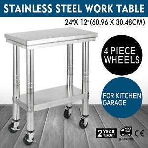 24x12 Kitchen Stainless Steel Work Table Commercial Applications 4 Caster Wheels