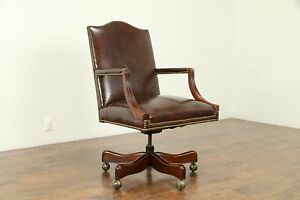 Leather Mahogany Swivel Vintage Adjustable Desk Chair Signed Hickory 31127