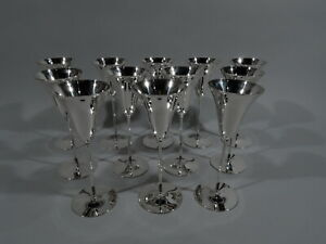 Tiffany Champagne Flutes 20468 Art Deco Goblets American Sterling Silver