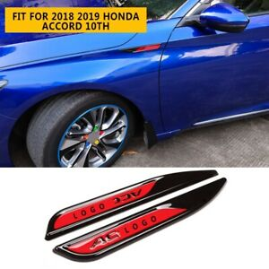 For 2018 2019 Honda Accord 10th Abs Car Sideimpact Bars Badge Trim 2pcs