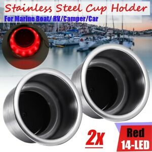 Pair 14 Led Stainless Red Light Cup Drink Holder For Rv Marine Boat Car Truck