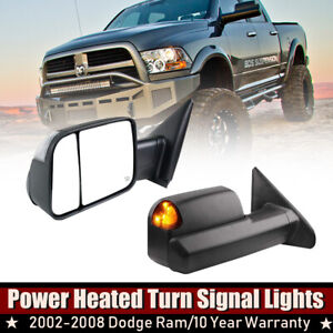 Black Towing Mirrors For 02 07 08 Dodge Ram 1500 2500 Heated Flip Up Turn Light