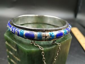 Early 20c Chinese Sterling Silver Enamel Bangle Bracelet Medallion Cuff Mk 42g