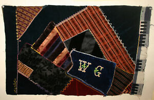 Antique Fragment Crazy Quilt Silks Wools C1895 Great Table Rug Mat