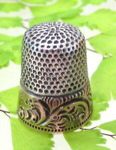 Antique Ketchum Mcdougall Sterling Gold Thimble Initial W Scroll Design