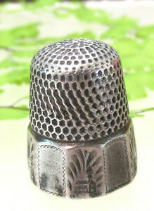 Very Old Antique Sterling Thimble With Little Country House Anchor Mark