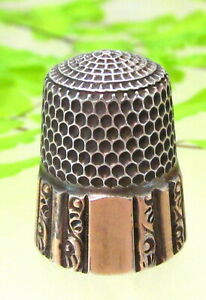 Lovely Antique Simons Brothers Sterling Thimble With Gold Band Marked May 1889