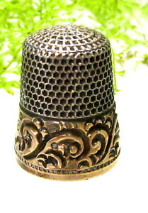 Lovely Antique Ketchum Mcdougall Sterling Gold Thimble Scroll Design