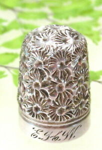 Gorgeous Antique Sterling Chased Bright Cut Thimble Possibly Charles Horner