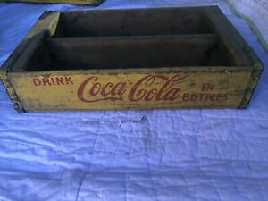 Vintage Yellow Coca Cola Wood Crate
