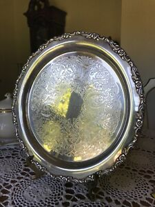 Antique Wm A Rogers By Oneida Silversmiths 12 Silverplatte Serving Tray