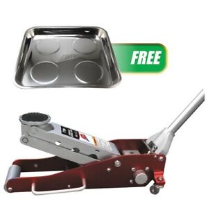 2 Ton Aluminum Low Profile Service Jack W Free Magnetic Quad Tray Atd 7340mag