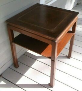 Vintage English Chippendale Style Wood With Leather Top Side Table Made In Usa