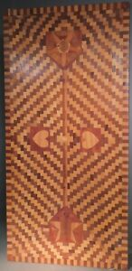 Vintage Mid Century Tramp Style Inlaid Table Top Marquetry 18x36 Folk Op Art 50s
