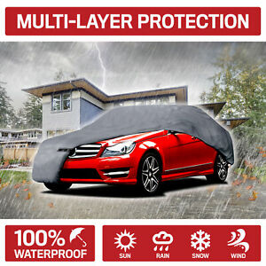 Auto Car Cover Indoor Outdoor Waterproof Sedan Sun Dirt Dust Scratch Resistant