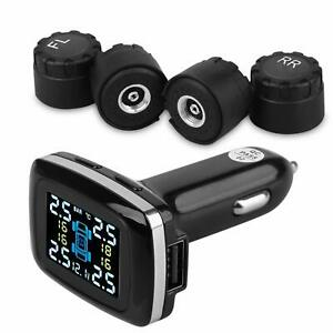 Tpms Car Tire Pressure Monitoring System Real time Lcd Cigarette Lighter Usb Aut