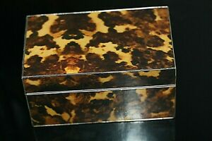 Faux Tortoiseshell Playing Cards Case Rare Wooden Box