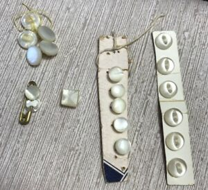 Lot Of Vtg Buttons Mop Tiny White 1 4 Shank And Flat Dolls Baby Clothes Repair
