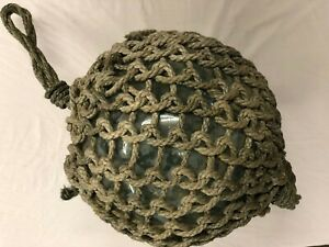 Authentic Large Vintage Antique Japanese Glass Fishing Float Rope Buoy Ball