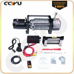 Fits 89 19 Jeep 10000lb 12v Electric Recovery Winch Steel Cable Remote Control