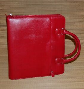 Monarch Red Franklin Covey Planner Textured Faux Leather Handles 2 Rings