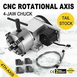 Cnc Router Rotational Rotary Axis 4 jaw High Quality Self centering Tail Stock