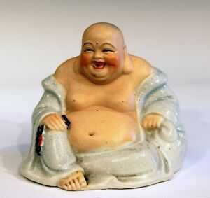 Vintage Chinese Buddha Hotei Porcelain Laughing Smiling Good Luck Belly Figure