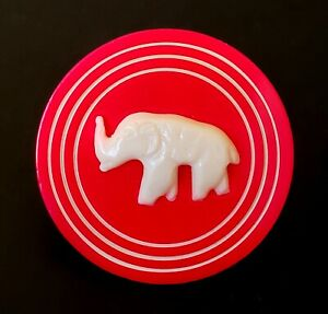 Vintage Button Neat Large Red Celluloid Wafer With Elephant