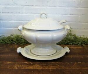 Vintage Large Red Cliff White Ironstone Oval Tureen W Lid Ladle