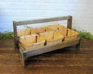 Vintage Rustic Primitive Wood Berry Tote Caddy W 6 Berry Baskets Farmhouse