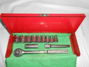 Vintage Stanley Professional Usa Socket Ratchet Extension Box Set 1 2 Drive
