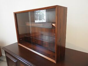 Mid Century Danish Rose Wood Cabinet Wall Unit With Glass