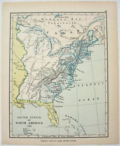 Vintage Longmans Map Of The United States Of North America In 1783