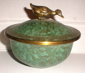 Nice Vintage Carl Sorensen Bronze Covered Bowl Candy Dish With Duck Finial