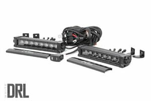 Rough Country 8 Black Cree Led Single Row Light Bars W Daytime Running Light