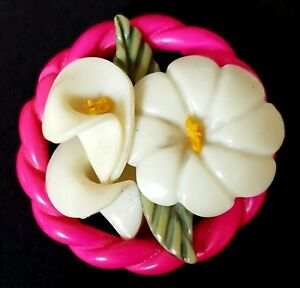 Vintage Button Gorgeous Large Celluloid Weeber Type W Calla Lily Hot Pink