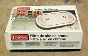 Brand New Edelbrock 1235 Pro flo Chrome Oval Air Cleaner Assembly For Dual Quads
