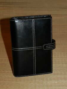 Pocket Franklin Covey Planner Black Leather Binder White Stitching 1 Rings