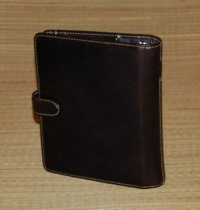 Compact Franklin Covey Planner Black Leather Binder White Stitching 1 Rings