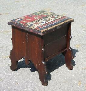 Antique Victorian Udell Portable Cobbler Bench Shoe Shine Caddy Stool Footstool