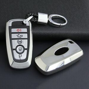 For New Ford Smart Car Key Fob Chain Ring Cover Case Keychain Accessories Silver