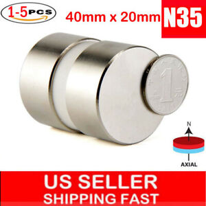 Lot Large Neodymium Disc Magnets Super Strong Rare Earth 40 20mm Huge Size N35