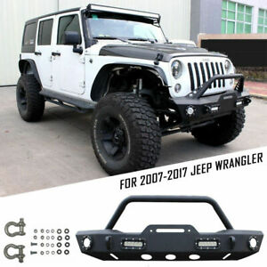 Black Front Bumper For New 2019 Jeep Wrangler Jl W Led Lights Winch Plate