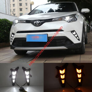2x Led Daytime Running Fog Lights Lamp Drl Control For 2017 2018 Toyota Chr Ch r