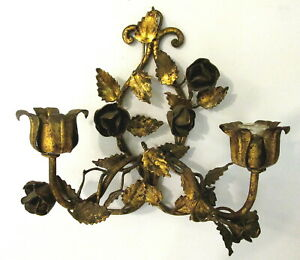 Nice Italian Gold Tole Metal Florentine Wall Sconce With Roses