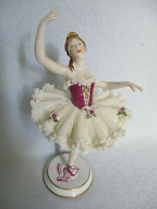 Beautiful 7 Dresden Porcelain Ballerina Lace Tutu Figurine Made In Germany