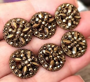Gorgeous Set Of 6 Antique Metal Buttons Tons Of Sparkly Cut Steel
