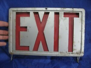 Vintage Exit Sign Metal Glass Marked F55113